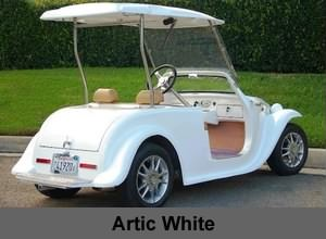 California Roadster Neighborhood Electric Vehicle NEV In White Color
